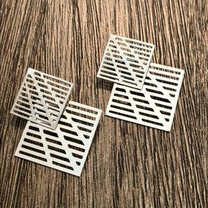 VTG  Perforated Square Dangle Earrings Silvertone